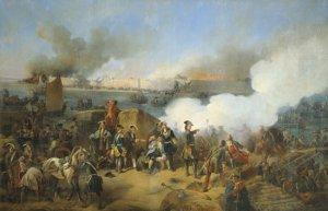Штурм крепости Нотебург 11 октября 1702 года. В центре изображён Пётр I.  А. Е. Коцебу, 1846 г.